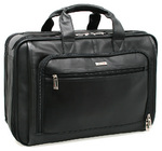 "Solo Classic Smart Strap 15.4"" Leather Laptop Briefcase Black GL600"