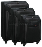 Qantas Durban Softside Suitcase Set of 3 Black 70756, 70767, 70777 with FREE GO Travel Luggage Scale G2008