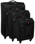Wenger Neo Lite Softside Suitcase Set of 3 Black 7208C, 7208B, 7208A with FREE Titan Luggage Scale S2014