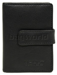 Vault Ladies' Fullgrain Cowhide RFID Blocking Tabbed Leather Credit Card Holder Black W015