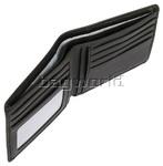 Vault Men's Fullgrain RFID Blocking Slimline Leather Wallet Black M002 - 1