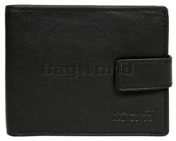 Vault Men's Fullgrain RFID Blocking Top Flap & Tab Leather Wallet Black M023
