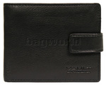 Vault Men's Fullgrain Cowhide RFID Blocking Top Flap & Coin Pocket Leather Wallet Black M010
