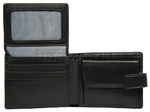 Vault Men's Fullgrain RFID Blocking Top Flap & Coin Pocket Leather Wallet Black M010 - 3