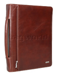 Artex Long Range Planner A4 Leather Ziparound Compendium with Binder plus Handle Brown 40309