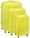 American Tourister Prismo Hardside Suitcase Set of 3 Neon Green 41001, 41002, 41003 with FREE Samsonite Luggage Scale 34042