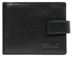 Vault Men's Fullgrain RFID Blocking Zip & Tab Leather Wallet Black M004