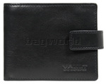 Vault Men's Fullgrain Cowhide RFID Blocking Zip & Tab Leather Wallet Black M004