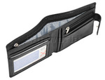 Vault Men's Fullgrain RFID Blocking Zip & Tab Leather Wallet Black M004 - 3