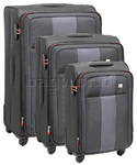 Qantas Dubai Softside Suitcase Set of 3 Charcoal 23019, 23016, 23015 with FREE GO Travel Luggage Scale G2007