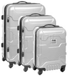 Jeep Patriot Hardside Suitcase Set of 3 Silver 1500C, 1500B, 1500A with FREE Travelon Luggage Scale 12636