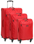 Qantas Airlight Softside Suitcase Set of 3 Red 07026, 07023, 07022 with FREE GO Travel Luggage Scale G2008
