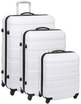 American Tourister HS MV+ Hardside Suitcase Set of 3 White Checks 31001, 49396, 49398 with FREE Samsonite Luggage Scale 34042