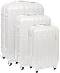 American Tourister Prismo Hardside Suitcase Set of 3 Pearl White 41001, 41002, 41003 with FREE Samsonite Luggage Scale 34042