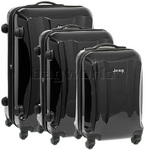 Jeep Rubicon Hardside Suitcase Set of 3 Black 8400C, 8400B, 8400A with FREE Travelon Luggage Scale 12636