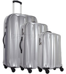 Antler Tiber Hardside Suitcase Set of 3 Silver 34826, 34823, 34822 with FREE GO Travel Luggage Scale G2008