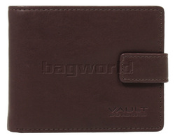 Vault Men's Fullgrain RFID Blocking Top Flap & Coin Pocket Leather Wallet Brown M010