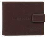 Vault Men's Fullgrain Cowhide RFID Blocking Top Flap & Coin Pocket Leather Wallet Brown M010