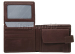 Vault Men's Fullgrain RFID Blocking Top Flap & Coin Pocket Leather Wallet Brown M010 - 3
