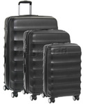 Antler Juno Hardside Suitcase Set of 3 Black 34926, 34923, 34922 with FREE GO Travel Luggage Scale G2008