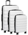 Antler Juno Hardside Suitcase Set of 3 White 34926, 34923, 34922 with FREE GO Travel Luggage Scale G2008