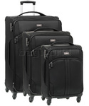 Antler Aire Softside Suitcase Set of 3 Black 60926, 60916, 60915 with FREE GO Travel Luggage Scale G2008