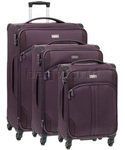 Antler Aire Softside Suitcase Set of 3 Aubergine 60926, 60916, 60915 with FREE GO Travel Luggage Scale G2008