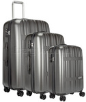 Antler Jupiter Hardside Suitcase Set of 3 Charcoal 59226, 59223, 59228 with FREE GO Travel Luggage Scale G2008
