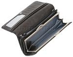 Vault Ladies' Fullgrain RFID Blocking Frame Leather Clutch Black W003 - 3