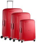 Samsonite S'Cure Hardside Suitcase Set of 3 Crimson Red 49539, 10001, 10002 with FREE Samsonite Luggage Scale 34042