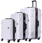 Lojel Carapace Hardside Suitcase Set of 3 White JCA55, JCA69, JCA79 with FREE Lojel Luggage Scale OCS27