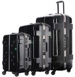 Lojel Carapace Hardside Suitcase Set of 3 Black JCA55, JCA69, JCA79 with FREE Lojel Luggage Scale OCS27