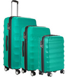 Antler Juno Hardside Suitcase Set of 3 Teal 34926, 34923, 34922 with FREE GO Travel Luggage Scale G2006