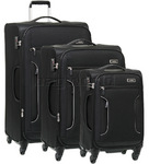 Antler Cyberlite II Softside Suitcase Set of 3 Black 39726, 39716, 39715 with FREE GO Travel Luggage Scale G2008