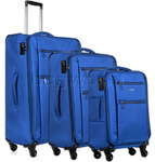 Antler Aeon Softside Suitcase Set of 3 Blue 39526, 39516, 39510 with FREE GO Travel Luggage Scale G2008