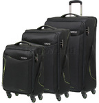 American Tourister Applite 2.0 Softside Suitcase Set of 3 Black 68052, 68053, 68054 with FREE Travelon Luggage Scale 12775