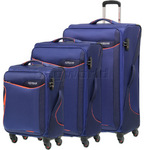 American Tourister Applite 2.0 Softside Suitcase Set of 3 Bodega Blue 68052, 68053, 68054 with FREE Travelon Luggage Scale 12775