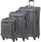 American Tourister Applite 2.0 Softside Suitcase Set of 3 Lightning Grey 68052, 68053, 68054 with FREE Samsonite Luggage Scale 34042