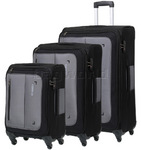 American Tourister Portobello Softside Suitcase Set of 3 Charcoal 68090, 68091, 68092 with FREE Samsonite Luggage Scale 34042