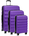 Antler Juno Hardside Suitcase Set of 3 Purple 34926, 34923, 34922 with FREE GO Travel Luggage Scale G2008