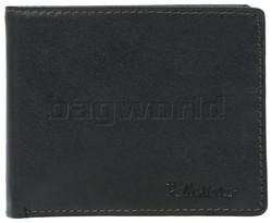Pellestaro Men's Fullgrain Cowhide RFID Blocking Flap & Zip Coin Leather Wallet Black PM003
