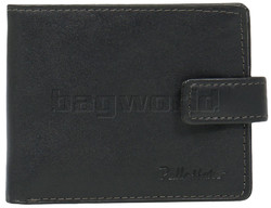 Pellestaro Men's Fullgrain Cowhide RFID Blocking Flap & Tab Leather Wallet Black PM023