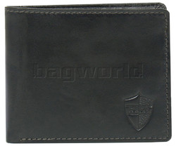 Duke Men's Fullgrain Cowhide Flap & Zip Coin Leather Wallet Black DM003