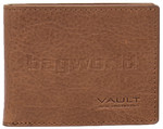 Vault Men's Rugged Vienna Leather RFID Blocking Micro Wallet Tan VM801