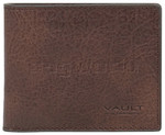 Vault Men's Rugged Vienna Leather RFID Blocking Slimline Wallet Brown VM802