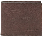 Vault Men's Rugged Vienna Leather RFID Blocking Wallet with Top Flap Brown VM803