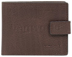 Vault Men's Rugged Vienna Leather RFID Blocking Wallet with Top Flap & Tab Brown VM823