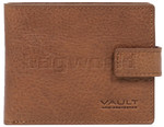 Vault Men's Rugged Vienna Leather RFID Blocking Wallet with Top Flap & Tab Tan VM823