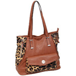 RMK Luxe Large Tote RFID Blocking Handbag Tan Leopard H1230