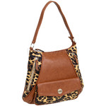 RMK Luxe North/South Hobo RFID Blocking Handbag Tan Leopard H1232